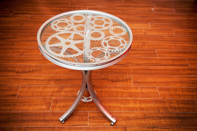 Gear Pedestal End Table