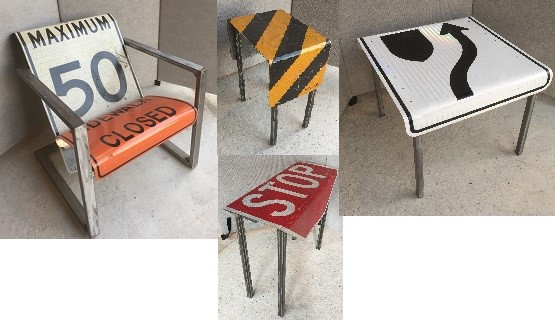 Tables, Chairs and Benches can all be made from decommissioned road signs.  See more HERE.
