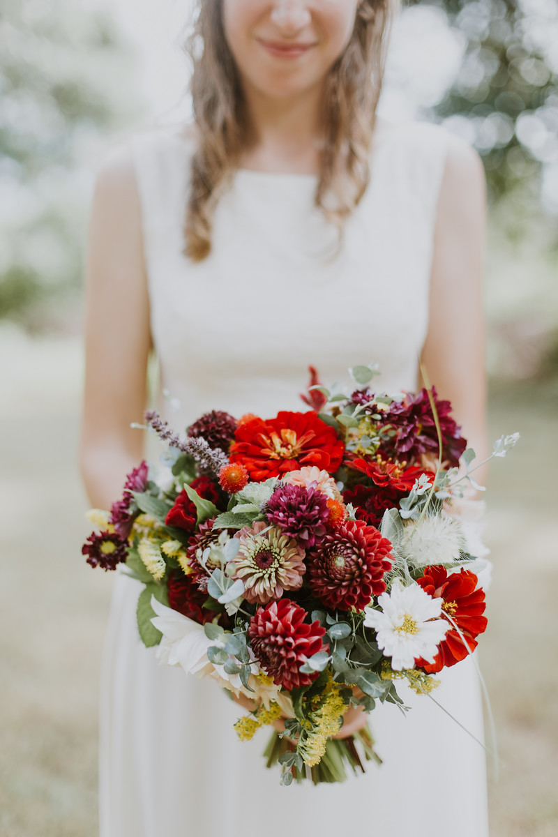 Bridal bouquet! Dahlias, zinnias, feathertop, eucalyptus, basil, gomphrena, cosmos, goldenrod, apple mint, celosia