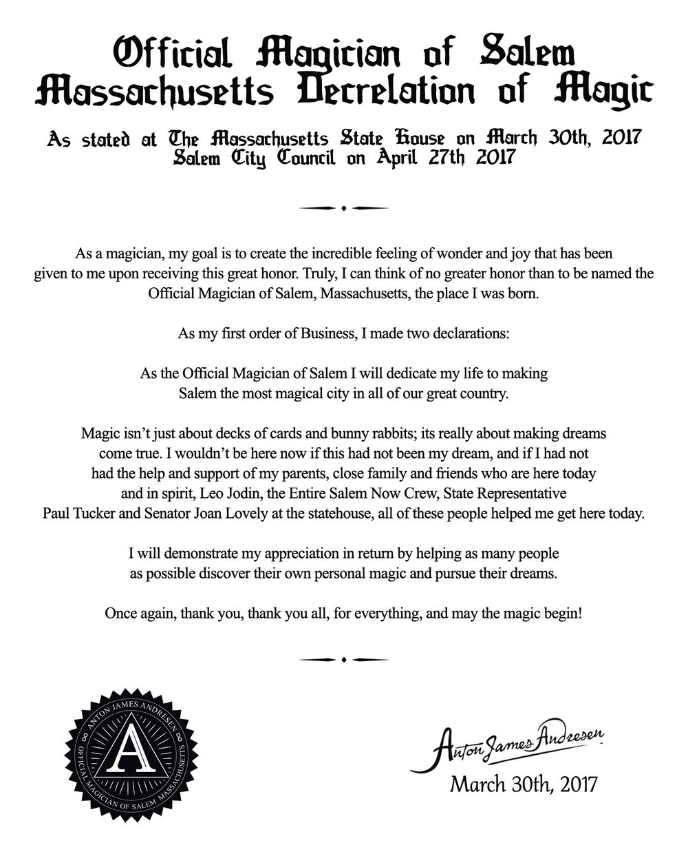 The Official Magician's Declaration of Magic