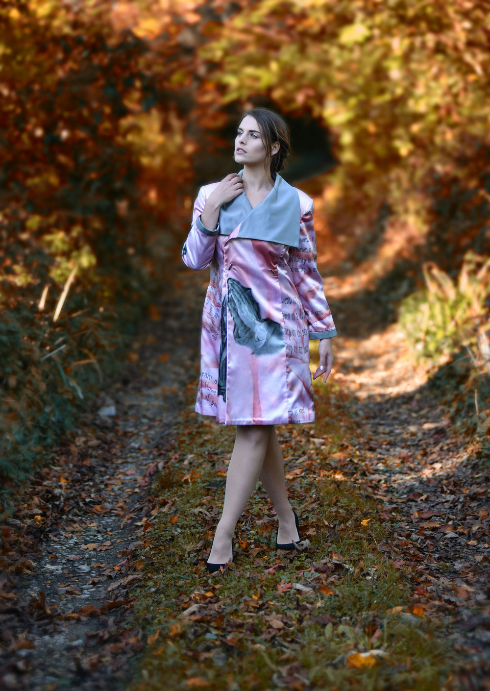 Pink large collar Durer Coat Fine tailoring Shandana