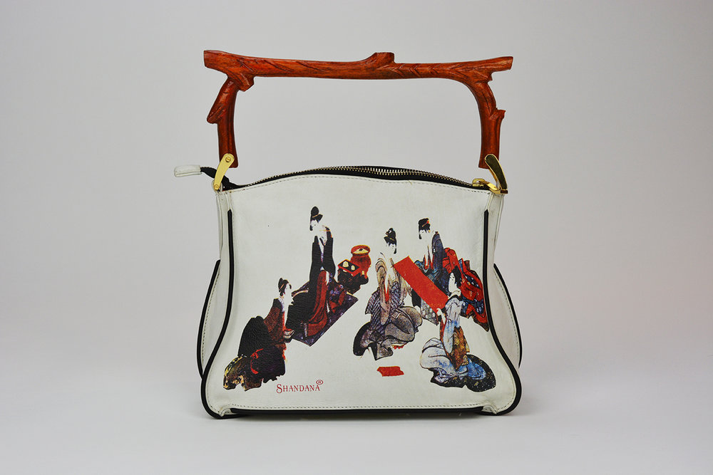 Luxury Leather Bag  Oriental Art Print Leather Handbag with Bran