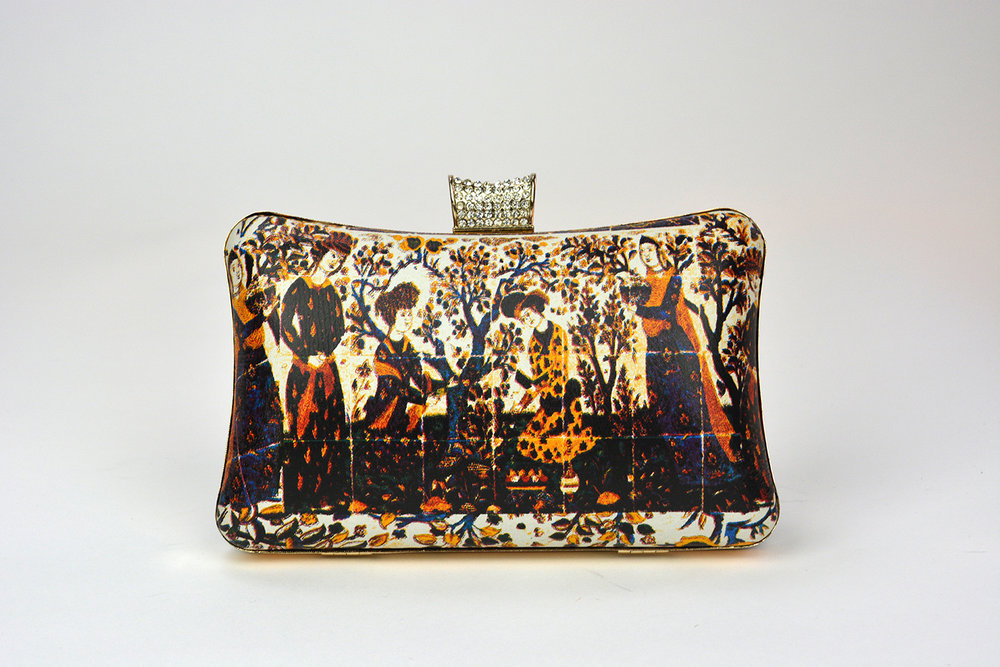 Islamic Art Clutch Bag; Printed Leather Clutch Bag Suede Lining