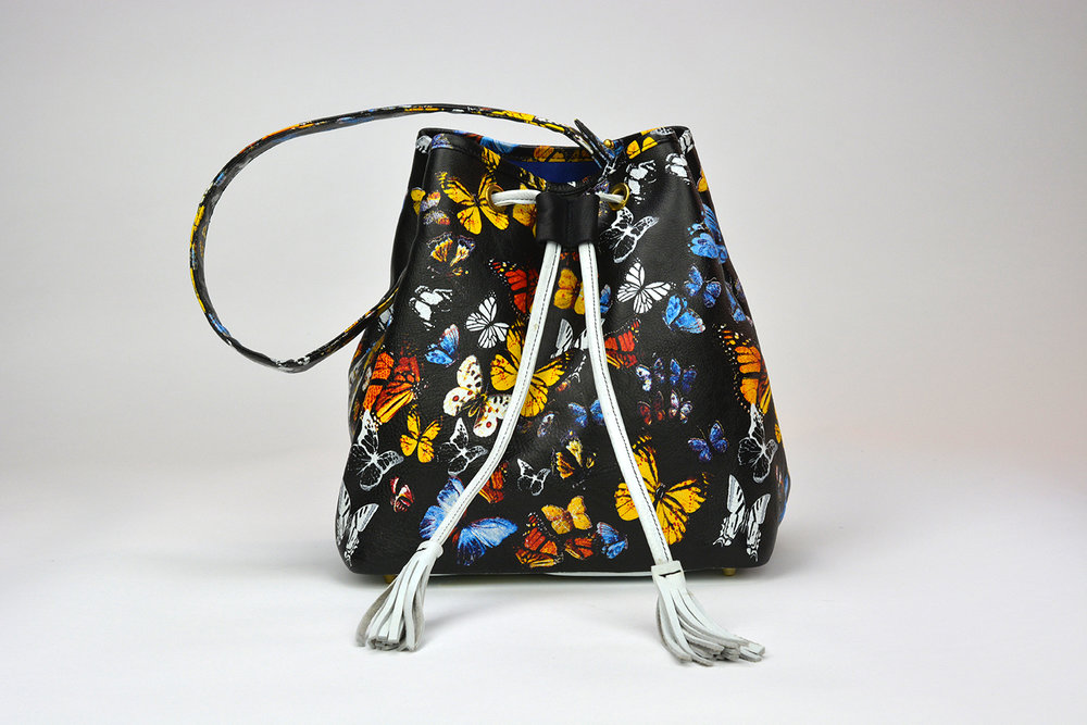 Black Butterflies Print Leather Bucket Bag with Blue Suede Linin