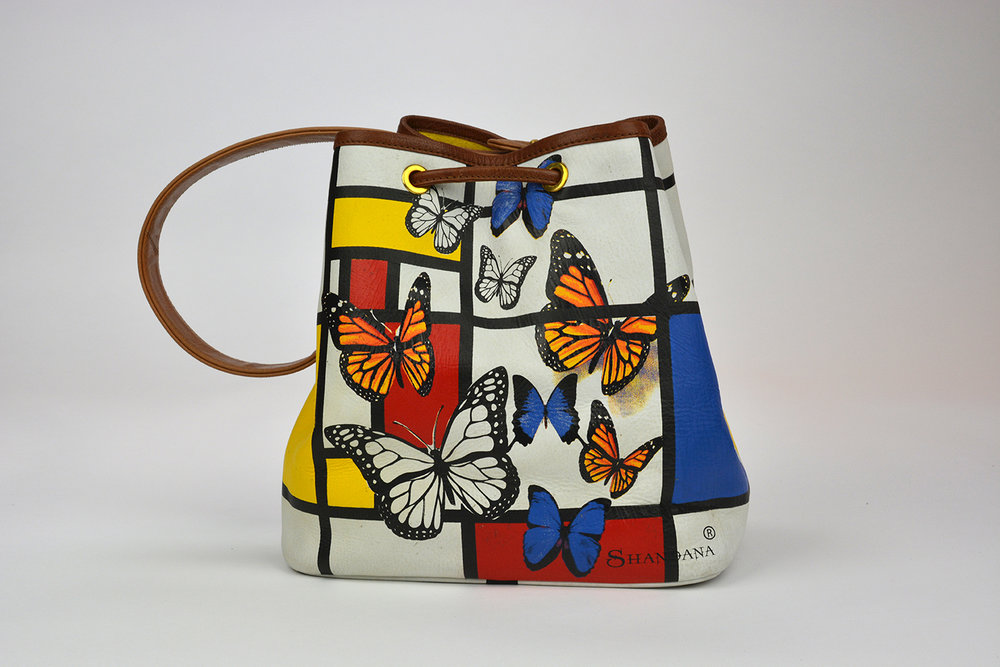 Mondrian Handbag; Butterflies Leather Handbag; Butterfly Print L