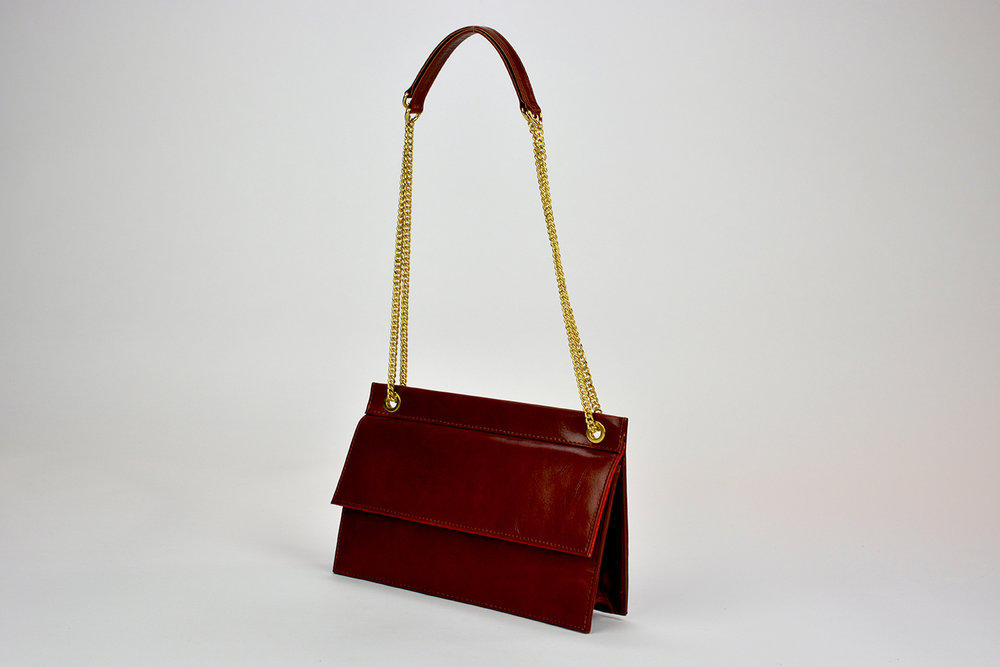 Red Italian Leather Shoulder Bag; Finest Leather Clutch Bag; Sue