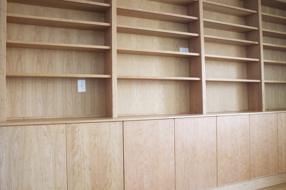 Built-in Cabinets with Hutch Shelving in Natural Cherry