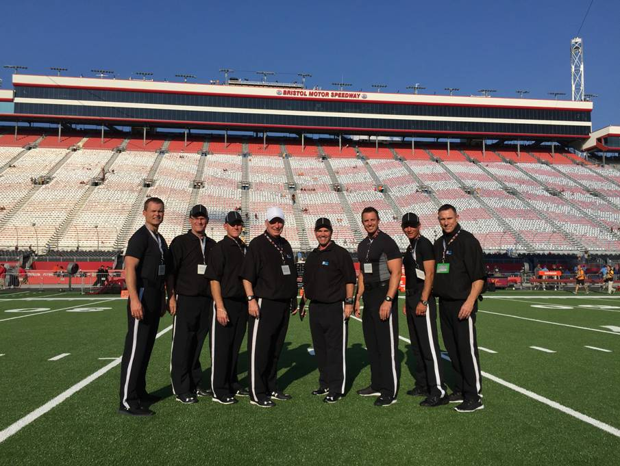 Dan Capron (white cap) with his officiating crew at the Bristol Motor Speedway Saturday, September 10, 2016