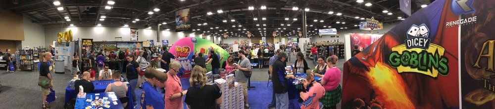 A panoramic view of our Origins booth.
