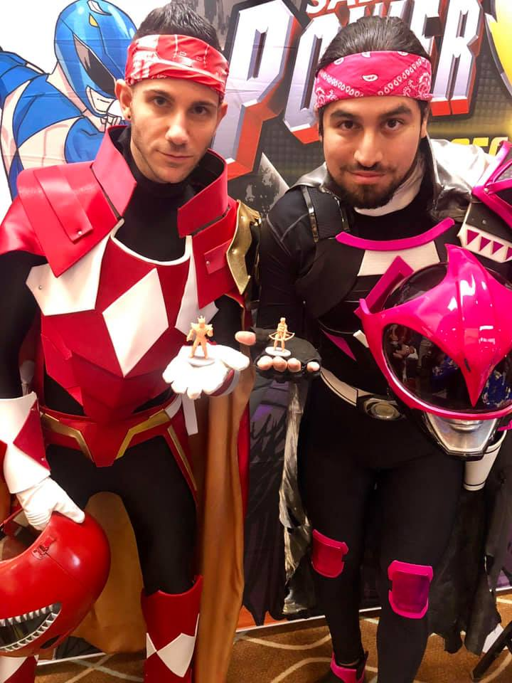 Red Ranger and Ranger Slayer cosplayers with their figures!