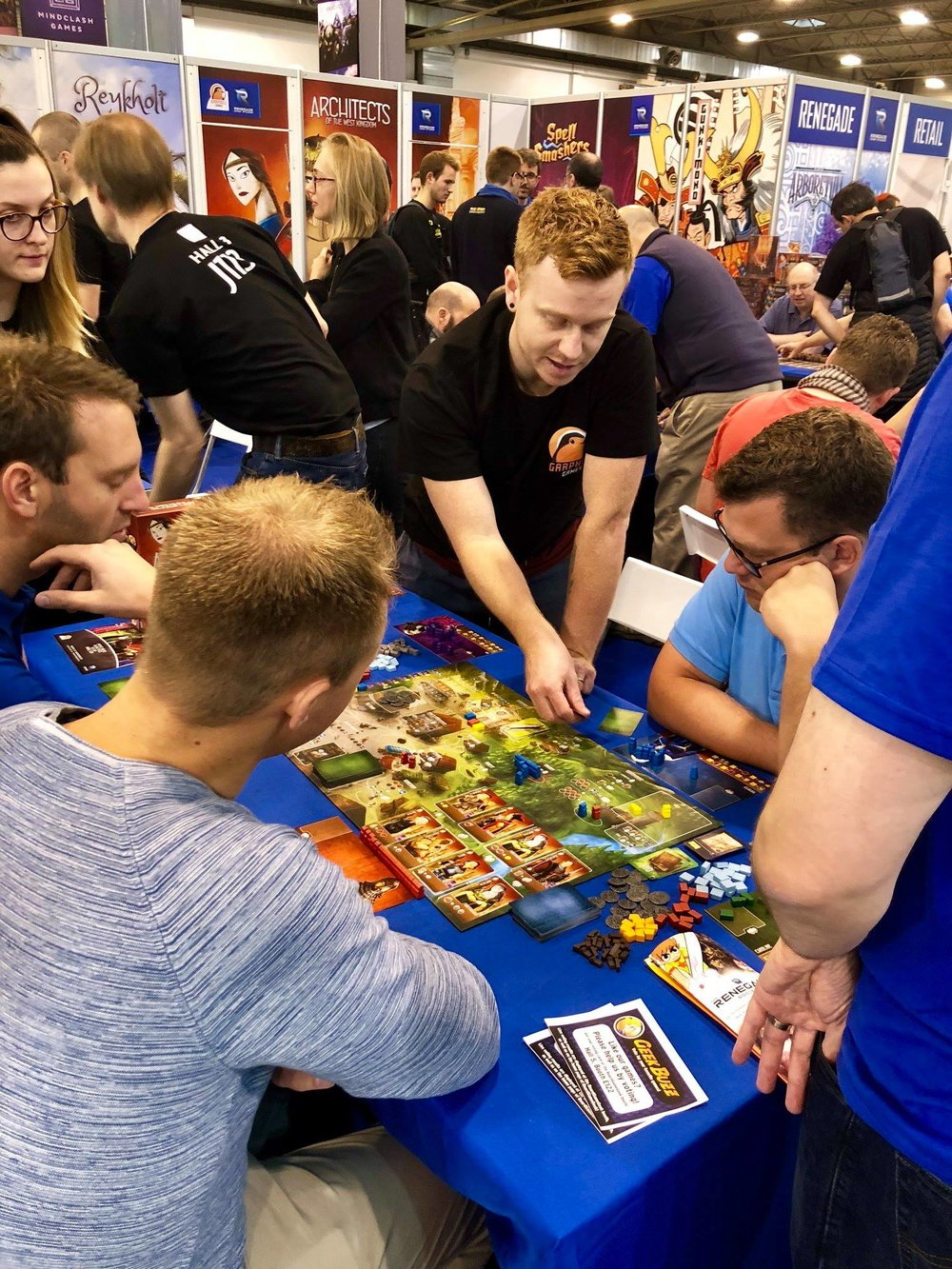 Designer Sam Macdonald demoing Architects of the West Kingdom.