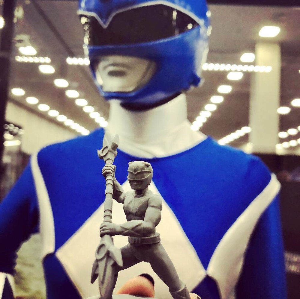 The original Blue Ranger helmet and the figure!
