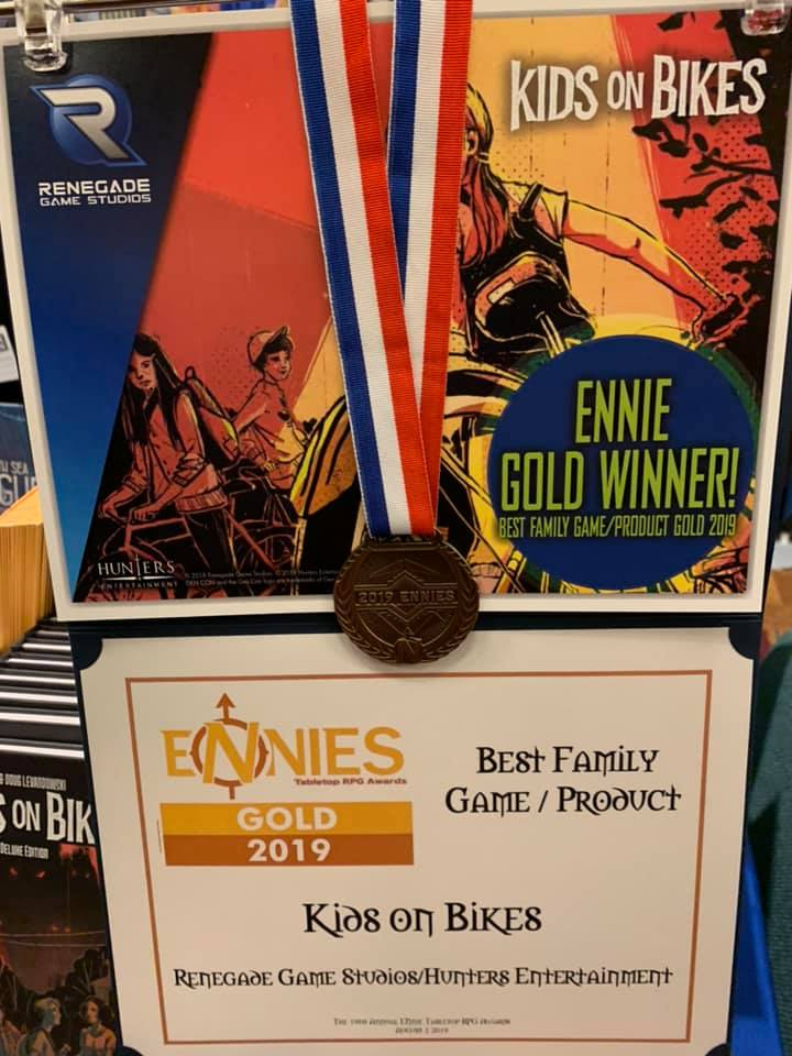 Kids On Bikes Wins a 2019 Gold ENnie for Best Family Game/Product