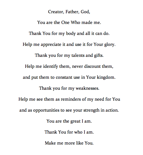 After talking about identity these past couple weeks, I thought today we might pray together. I believe this prayer could change your life. It's changing mine, for sure.   May our God bless you with clear eyes to see yourself just as He sees you.