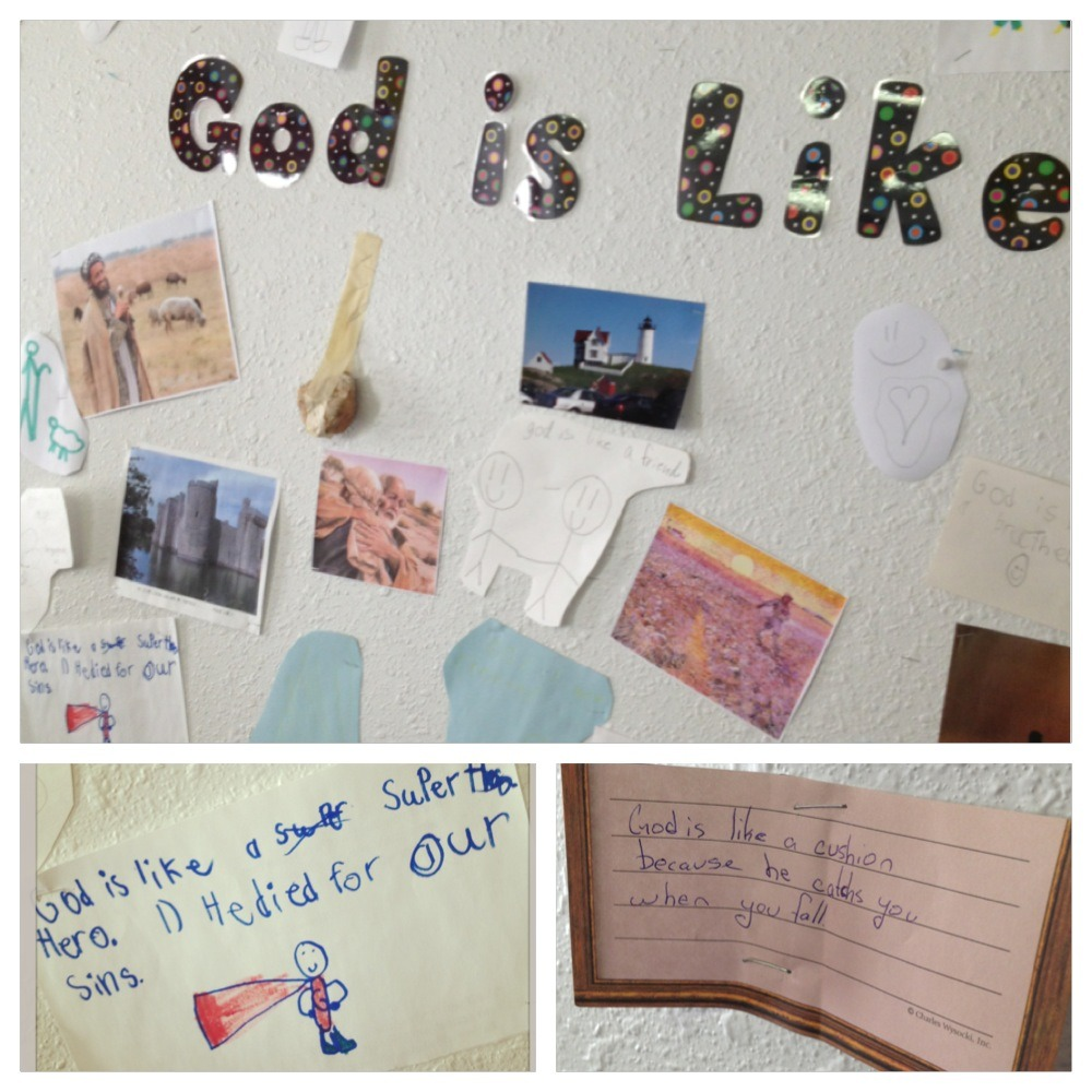"""This is the """"God is Like…"""" bulletin board from my third grade Bible class. We studied the parables together and they flourished in the act of comparison. I gave them Pixie Sticks for every addition to the board. They added much, well.   Today I'm thinking of what God is like over coffee with my artist Mother-in-law: He's a painter.   I'm thinking of what God is like as I dress for a funeral, pouring rain outside my window: He's shelter.   I'm thinking of what God is like as I prepare to teach the final spring Bible class to six precious third graders: He's a superhero and a rock and a shepherd and a cushion. :)"""