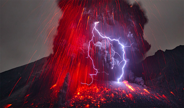 "Photographer Martin Rietze captured this image of the Sakurajima Volcano in southern Kyushu during a recent lightning storm.    I've looked at this picture for ten minutes now and I can't tell you if I think it's more beautiful or terrifying. It's both, of course.    This image, so powerful, reminds me of a passage in Deuteronomy. Moses is reflecting on the time God spoke to Israel from Mount Horeb ""out of the midst of the fire."" It's here where he says, ""For the  Lord  your God is a consuming fire.""   Seven verses later Moses writes, ""For the  Lord  your God is a merciful God. He will not leave you or destroy you.""   Today, in honor of our fiery mercy God, I thought we might read together about the God-ness of God. Here's Moses in verses 32-38 of Deuteronomy chapter 4:          For ask now of the days that are past, which were before you, since the day that God created man on the earth, and ask from one end of heaven to the other, whether such a great thing as this has ever happened or was ever heard of.      Did any people ever hear the voice of a god speaking out of the midst of the fire, as you have heard, and still live?      Or has any god ever attempted to go and take a nation for himself from the midst of another nation, by trials, by signs, by wonders, and by war, by a mighty hand and an outstretched arm, and by great deeds of terror, all of which the  Lord  your God did for you in Egypt before your eyes?       To you it was shown, that you might know that the  Lord  is God; there is no other besides him.    Out of heaven he let you hear his voice, that he might discipline you. And on earth he let you see his great fire, and you heard his words out of the midst of the fire.      …  the  Lord  is God in heaven above and on the earth beneath; there is no other.            God didn't deliver you from Egypt, ten plagues and a split sea in your rear view mirror, but He did deliver you—from mediocrity and sin and death. He didn't talk to you from a fire-topped mountain, but He did talk to you—through His son, the incarnate Word, through His messengers, through His creation, through His children…   You've seen lighting and lava (if only in pictures). You've seen babies born. You've seen butterflies and tadpoles turned toads. You've watched men and women wage war on poverty and hatred, winning. You've lived beyond and outside of death.   You've seen wonders.   God Scout, ""to you it was shown, that you might know that the Lord is God.""   Praise be to the Lord God in Heaven above and on the earth beneath!    There is no other."
