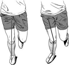 Proper hip-knee-foot alignment on the Left vs improper alignment with the foot turned out and subsequent collapse of the arch and knee on the Right