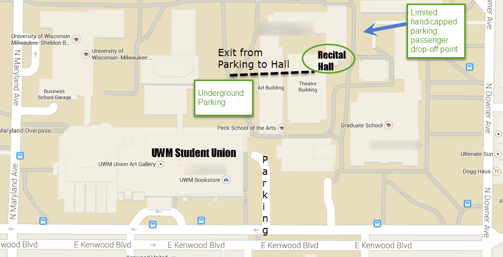 Map to UW-Milwaukee Recital Hall
