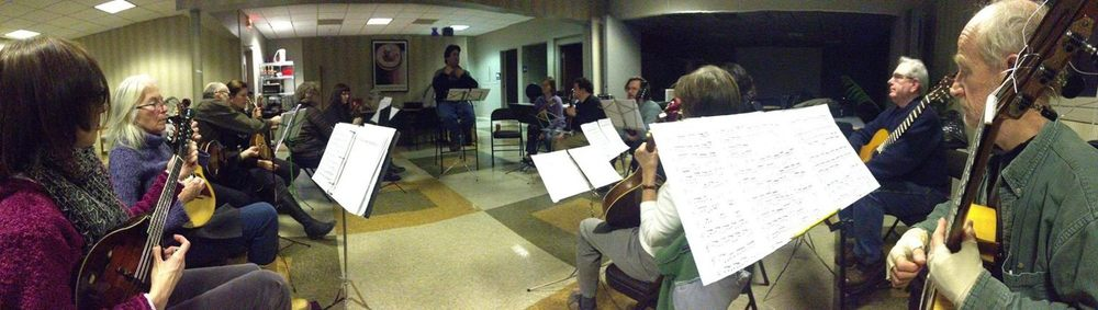 Here's an inside peek at our rehearsal as we did our first read-through of the Bach Brandenburg Concerto #3, at our new rehearsal space  at Northwoods Software in Shorewood.