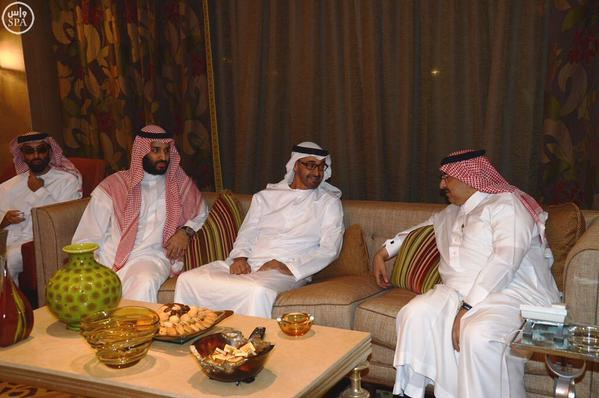 The crown prince of Abu Dhabi, in the middle, met the newly appointed Saudi crown prince and the deputy crown prince shortly after the shakeup.