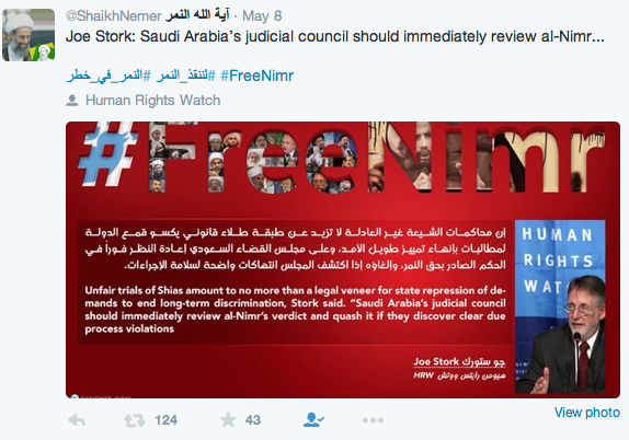 A campaign on Twitter to free Al-Nimr.