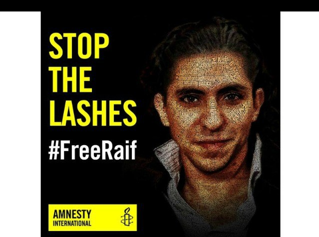 """Saudi blogger Raif Badawi was sentenced to a decade in prison and 1,000 lashes for """"insulting Islam""""."""