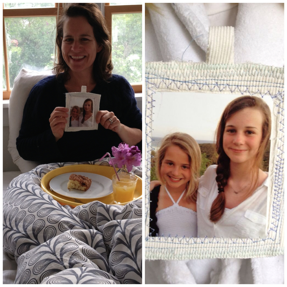 Throw back: Mother's Day breakfast in bed 2012 with Maisie's homemade coffee cake and hand-sewn photo card.