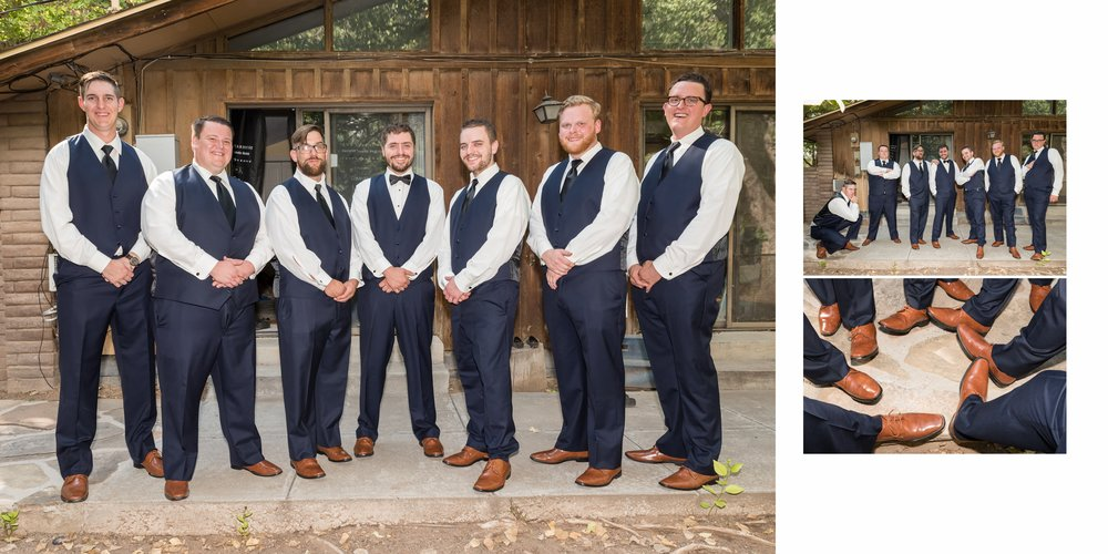 Groomsmen outside farm house