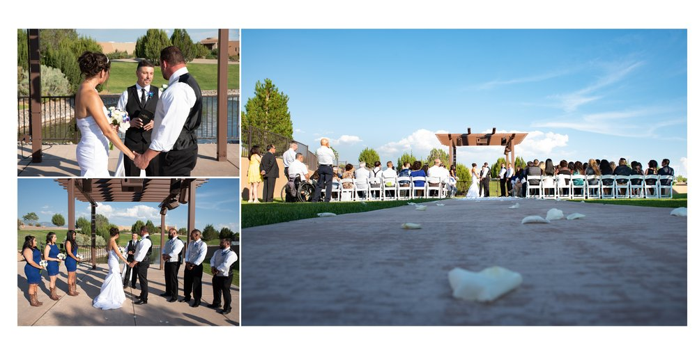 The wedding ceremony on the terrace beside the pond