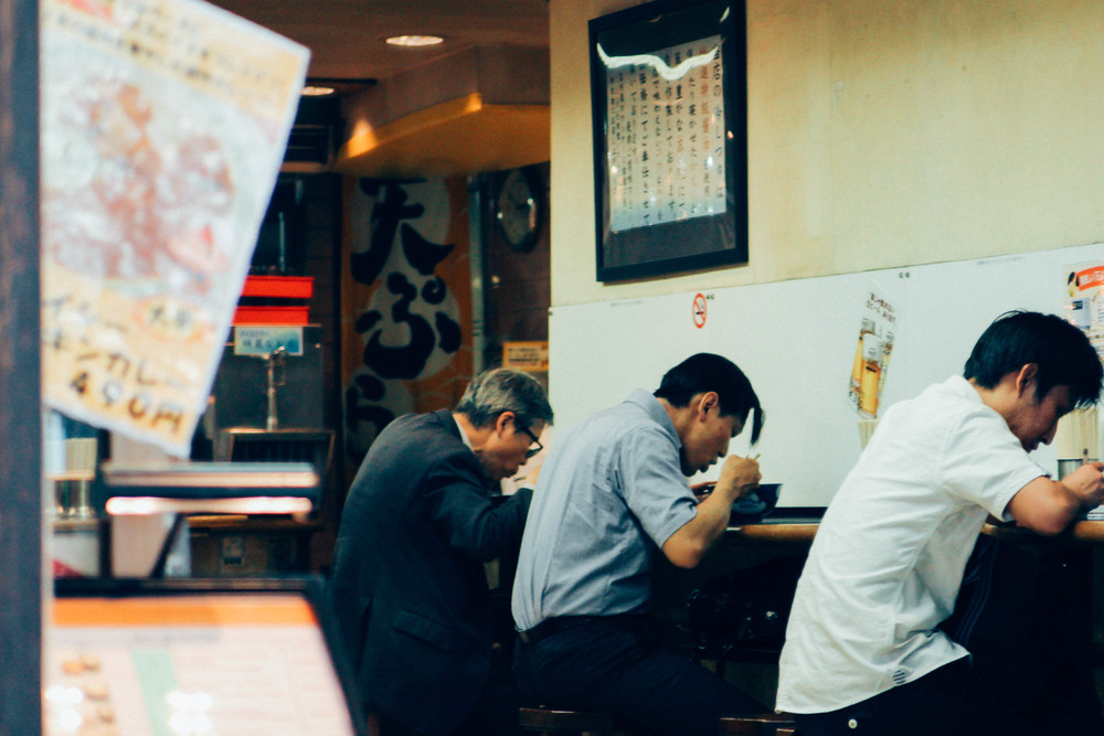 Late night at a soba shop in Tokyo.