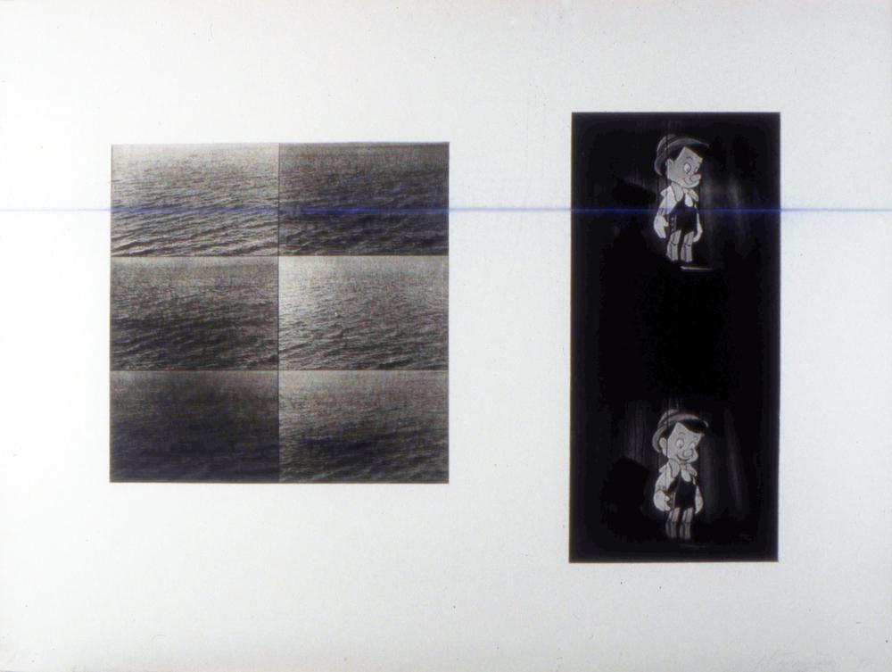 "untitled, 1997, Photo Gravure with Chalkline on Plexi, 22x 30"""