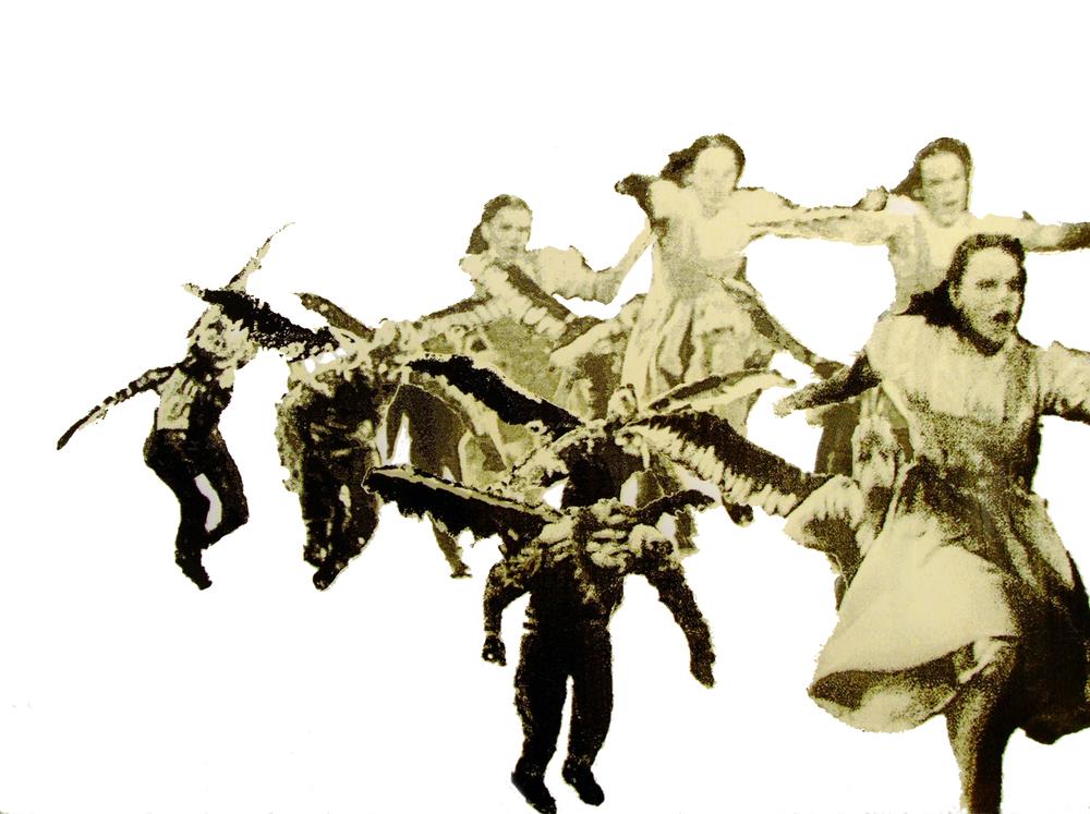 "Dorothy With Monkeys,2008, Screenprint, 22 x 30"""