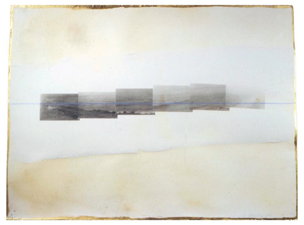 "Ocean, 1995, Screenprint on plasterwith gold leaf & chalk line, 22 x 30"""