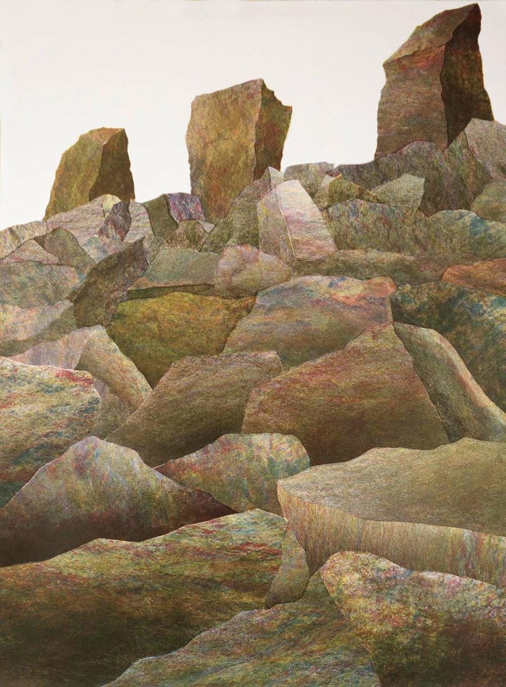 "Rock Barrier 1, 2012, screenprint, 47 x 35"""