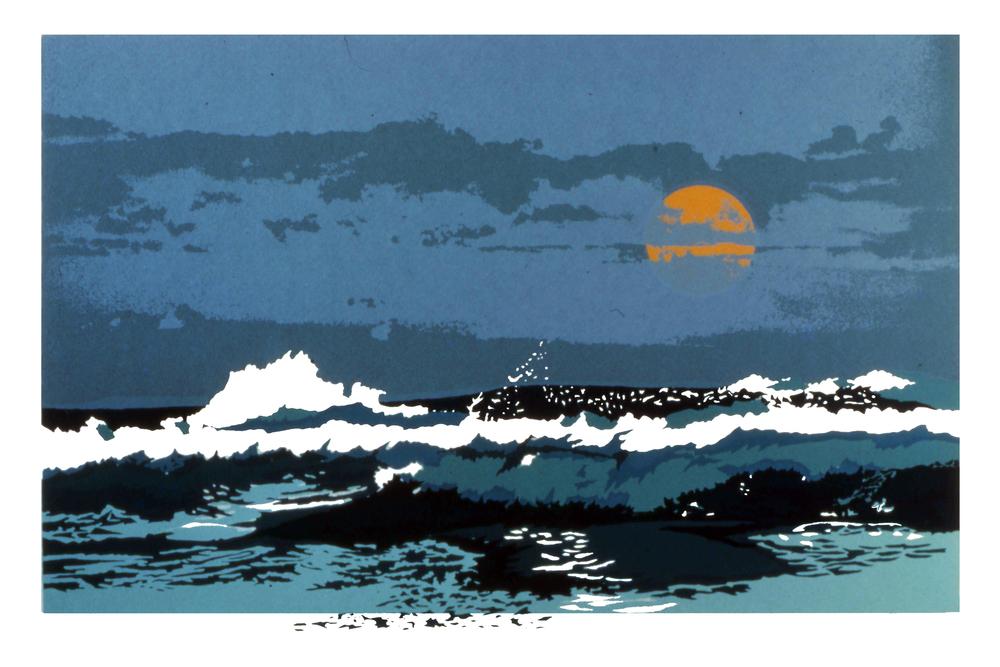 "Ocean Wave, 1976, screenprint, 16 x 24"""