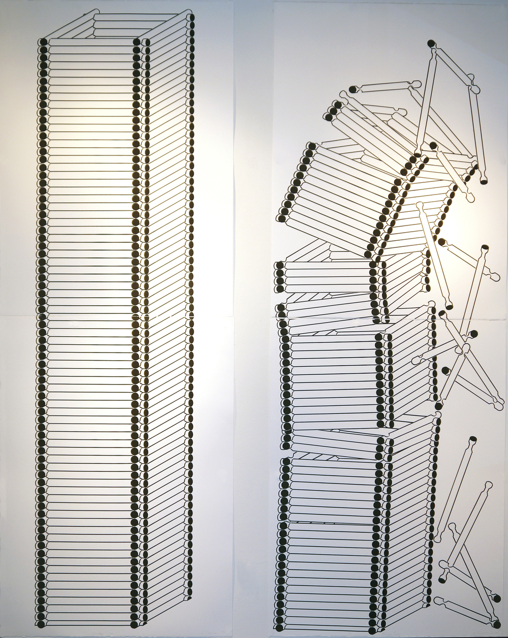"""Standing Tower Falling Tower, 2015, screenprint diptych, ea image 35"""" x 7' 10"""""""
