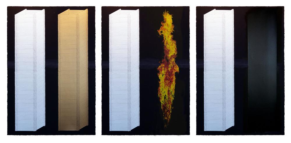 "Towers Sequence, 2015, screenprint w chalk line, ea image 31 x 45"""