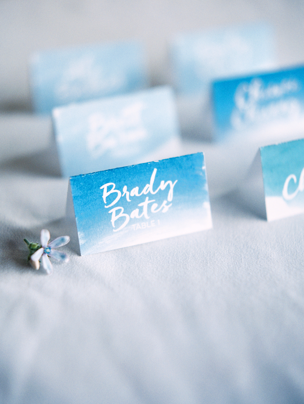 Watercolor escort cards  Photography:  www.kristenkilpatrick.com