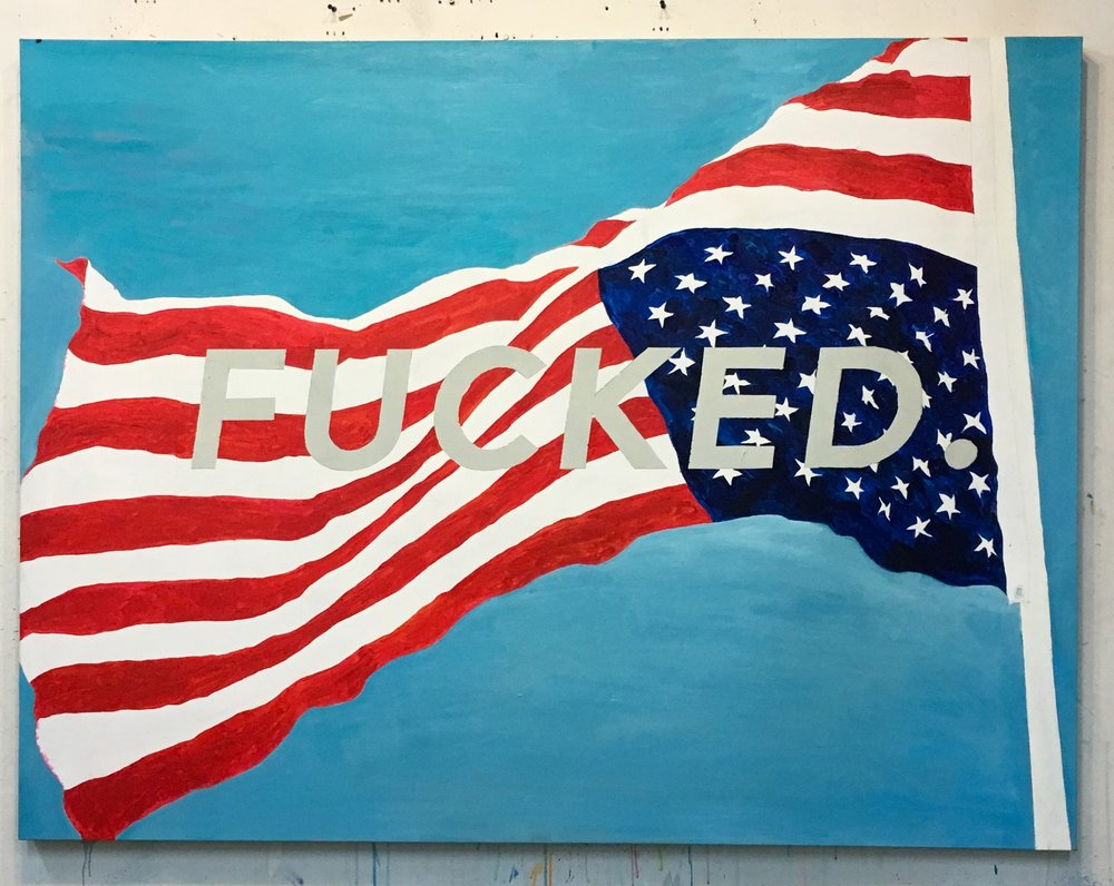 David Kramer, Old Glory, 2017,oil on canvas, 51 x 67 inches