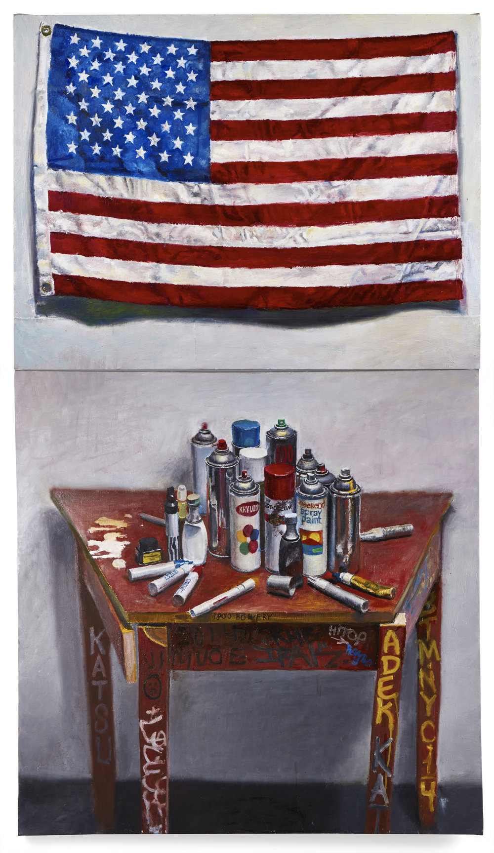 Jesse Edwards American Graffiti, 2009, oil on linen 74 x 42 inches  © Jesse Edwards, Photo by Argenis Apolinario, Courtesy the artist and Vito Schnabel Projects, New York.