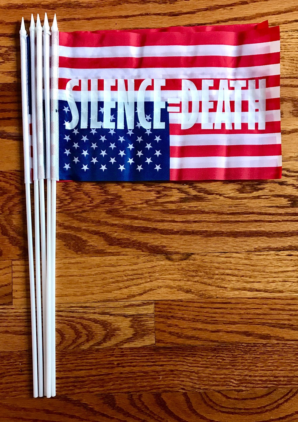 "J. Morrison, 30 years: 1987-2017 (Silence = Death Project), 2017, hand-screenprint on polyester American flag,11.5 x 7.5""  $20 suggested donation to ACLU"