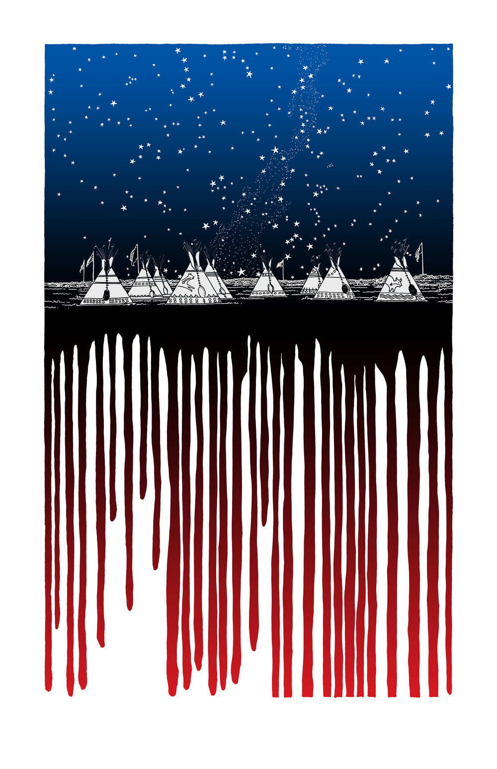 Fernando Marti, American Flag, 2017, split fountain screen print, 11 x 17 inches $35