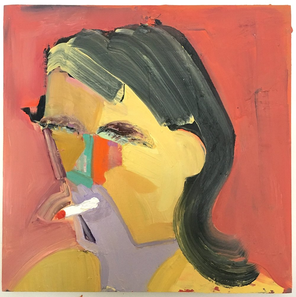 Danielle Orchard, Red Smoker, 2015, oil on panel 12 x 12 inches