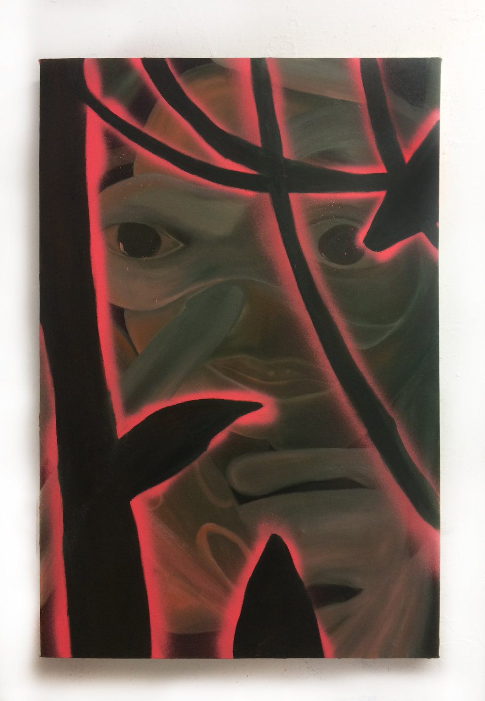 Claire Scherzinger, Afterburner--no spirit lingering, oil and spray paint on canvas, 36 x 24 in, 2016.