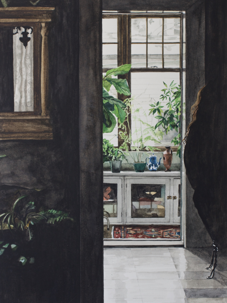 Heather Goodchild, Early evening kitchen, 2016, watercolor on paper, 12 x 9 inches.