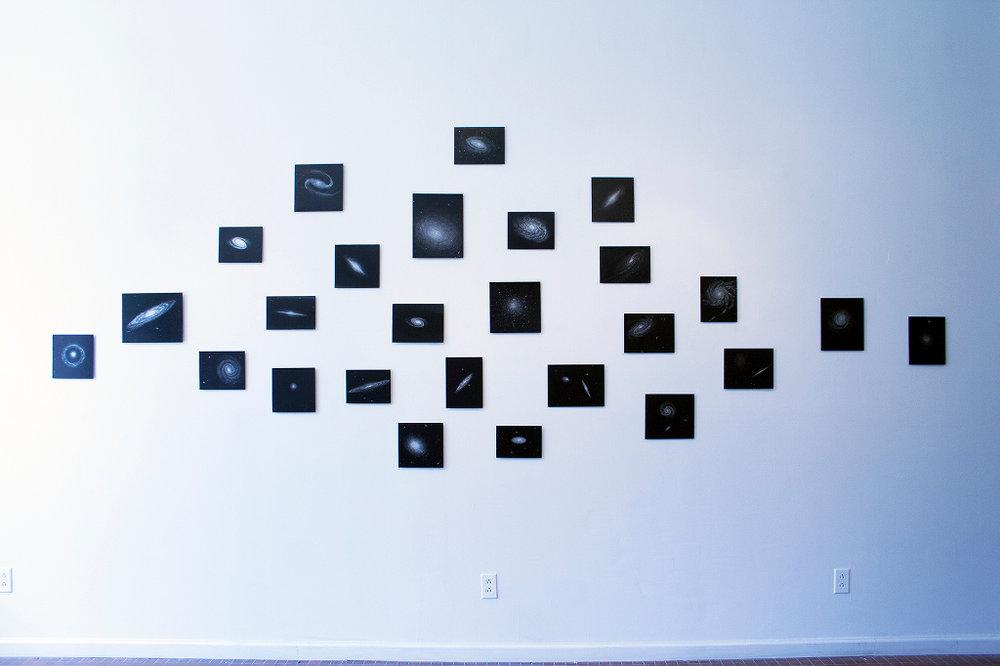 John Dickson,Galaxies, 2016, 25 engravings on black metal, Installation View.