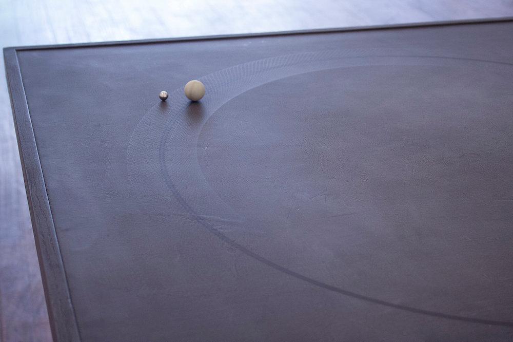 John Dickson, Orbits (detail), 2016, Magnets, ball bearings, motor, table, 82 x 82 x 74 cm.