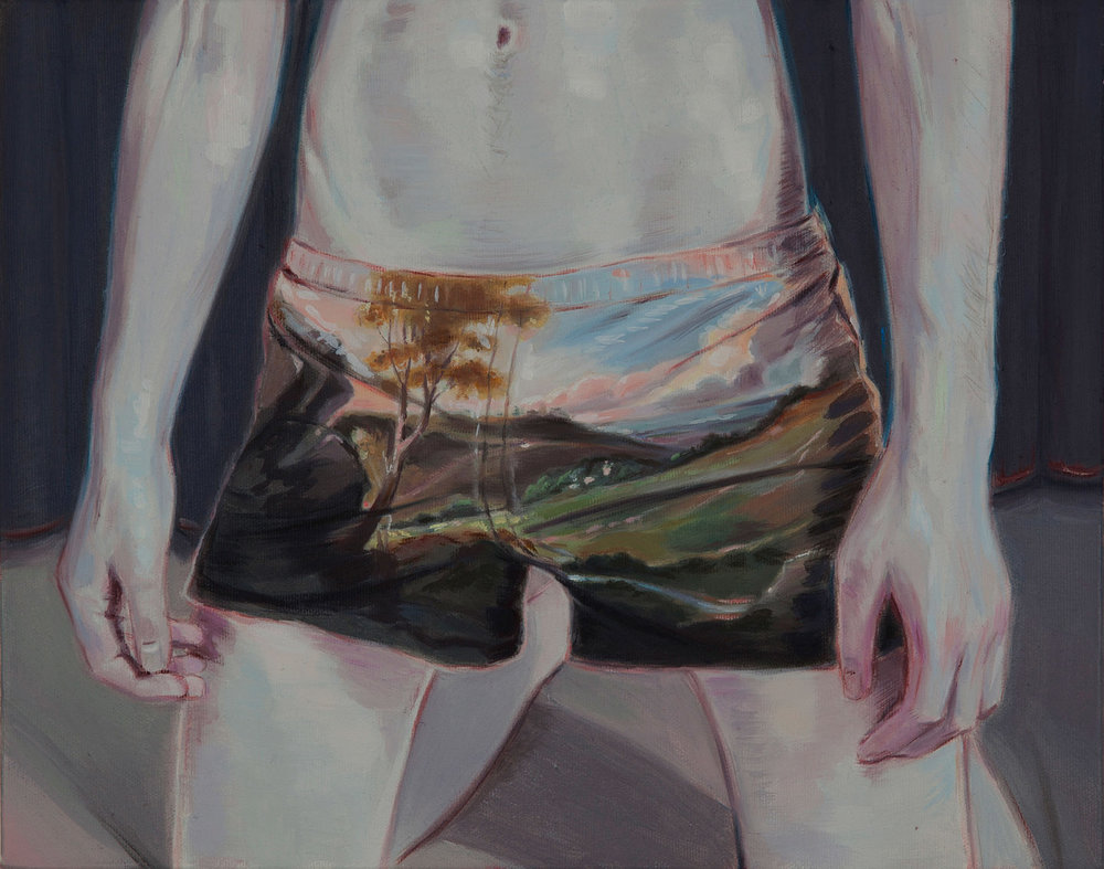 Kris Knight, Romance Is A Ticket To Paradise (After Trumbull), 2015, oil on canvas, 14 x 11 inches.