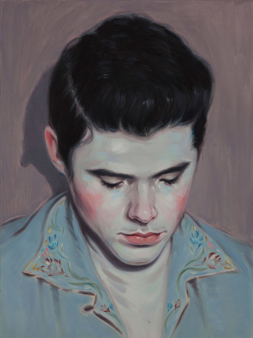 Kris Knight, Offstage (Big Head), 2015, oil on canvas, 24 x 18 inches.