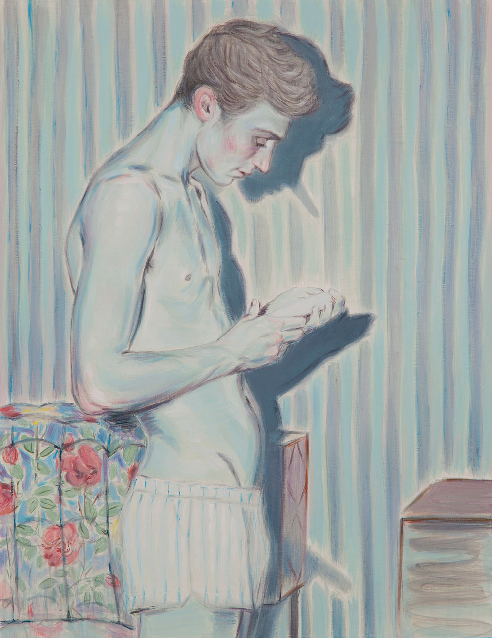Kris Knight, The Shadow Of The Puer, 2015, oil on prepared cotton paper, 16 x 12 inches.